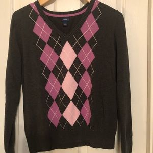 V-Neck Argyle Sweater